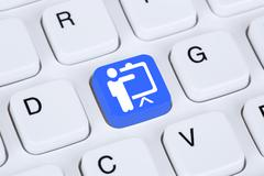 Training learning education coaching workshop online on internet Stock Photos