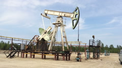 Fossil Fuel Energy, Oil Pump, Pumpjack, Old Pumping Unit, Jack Pump, Donkey Stock Footage