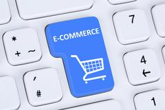 Online shopping order e-commerce internet shop store concept Stock Photos