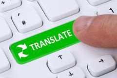 Translate translation foreign language translator on internet Stock Photos