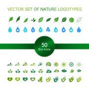 Ecology icons, nature logo - stock illustration