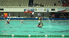Female water polo players warm up. Russia - Greece, November, 24, 2015 Stock Footage