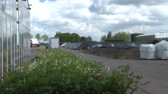 Big greenhouse truck parking - stock footage