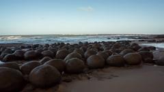 Bowling Ball Beach Rocks Mid Shot - stock footage