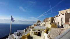 aegean coast on santorini - stock photo