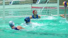Women's water polo team scores a goal. Russia - Greece, November, 24, 2015 - stock footage