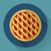 Sweet apple pie icon. Flat designed style - stock illustration