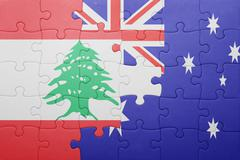Stock Photo of puzzle with the national flag of lebanon and australia