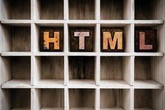 HTML Concept Wooden Letterpress Type in Draw Stock Photos