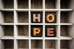 Hope Concept Wooden Letterpress Type in Draw Stock Photos