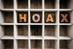 Hoax Concept Wooden Letterpress Type in Draw - stock photo