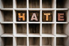 Hate Concept Wooden Letterpress Type in Draw - stock photo