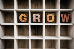 Grow Concept Wooden Letterpress Type in Draw Stock Photos