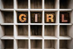 Girl Concept Wooden Letterpress Type in Draw Stock Photos