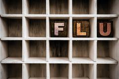 Flu Concept Wooden Letterpress Type in Draw Kuvituskuvat