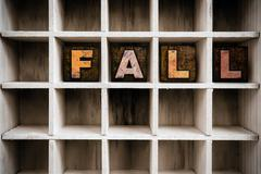 Fall Concept Wooden Letterpress Type in Draw - stock photo