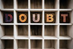 Doubt Concept Wooden Letterpress Type in Draw Stock Photos