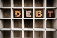 Debt Concept Wooden Letterpress Type in Draw - stock photo