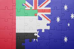 Puzzle with the national flag of united arab emirates and australia Stock Photos