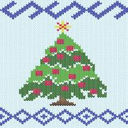 Christmas tree with knitting ornate details Stock Illustration