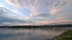 Time Lapse Shot of the Beaver and Ohio River from Monaca, PA Stock Footage