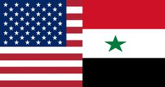 American and Syrian flags together - stock illustration