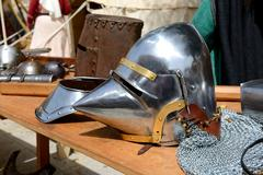 The Medival Knights helmet in Mdina, Malta - stock photo