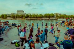 People dancing to live music in the streets of Paris, France - stock photo