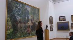 Kids Listening to Excursion National Art Museum in Kiev Christmas Eve Ukraine - stock footage