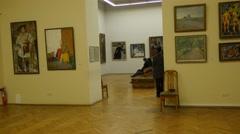 Kids Teacher Excursion to the National Art Museum Kiev Christmas Eve Ukraine - stock footage