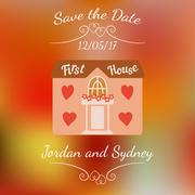 Wedding house for newlyweds over colorful blurred background. - stock illustration