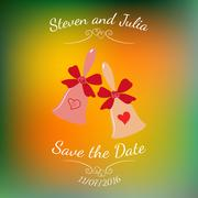Vector wedding bells with hearts and bow over colorful blurred background. Stock Illustration