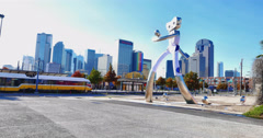 Elm Street Station in Downtown Dallas Stock Footage