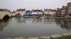 Boat on river Wareham market Dorset England UK Stock Footage