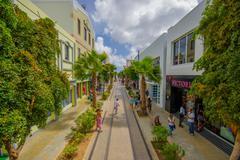ORANJESTAD, ARUBA - NOVEMBER 05, 2015:Streets of Aruba Island, downtown with Stock Photos