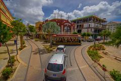 ORANJESTAD, ARUBA - NOVEMBER 05, 2015:Streets of Aruba Island, downtown with - stock photo