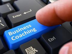 Press Button Business Coaching on Black Keyboard Stock Illustration