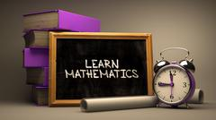 Learn Mathematics - Chalkboard with Hand Drawn Text - stock illustration