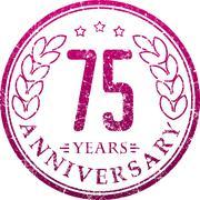 Vintage anniversary 75 years round grunge round stamp. Retro styled vector il - stock illustration