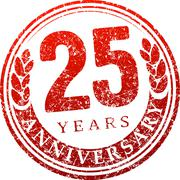 Vintage anniversary 25 years round grunge round stamp. Retro styled vector il Stock Illustration