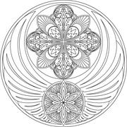 The unusual round design with wings and two mandalas. It can be used for a lo - stock illustration