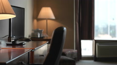 Panning Shot of Empty Hotel Room during the Day Time. Stock Footage