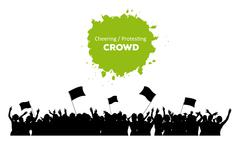 Cheering or Protesting Crowd - stock illustration