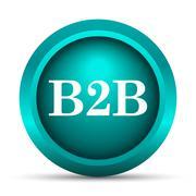 B2B icon. Internet button on white background.. - stock illustration
