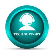 Tech support icon. Internet button on white background.. - stock illustration