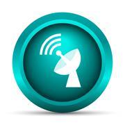 Stock Illustration of Wireless antenna icon. Internet button on white background..