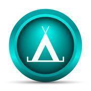 Tent icon. Internet button on white background.. - stock illustration