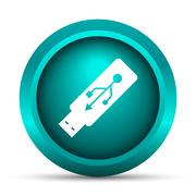 Stock Illustration of Usb flash drive icon. Internet button on white background..