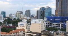 HO CHI MINH / SAIGON, VIETNAM - 2015: City skyline buildings offices apartments Stock Footage
