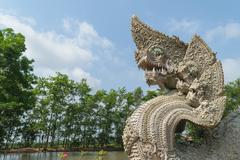 Serpent or naga statue head Stock Photos